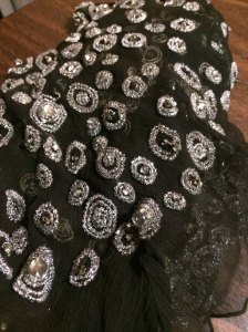 Vintage beaded silk chiffon made for a woman's evening dress, but never used...