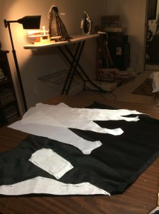 Cutting the silk duchess satin pieces for sleeves and collar...
