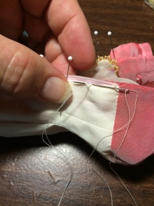 Sew down the lining...