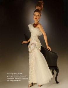 JAMIEshow Ginnie wearing OOAK gown 'Capricio' by Tommydoll - Photo: George Gonzalez - in the Jan/Feb 2015 Haute Doll Magazine