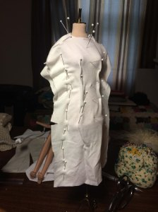 First drape in rayon jersey with interfacing...
