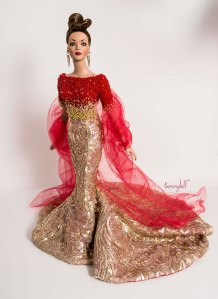 Le Phénix - one-of-a-kind beaded gown by Tommydoll to fit classic Tyler Wentworth by Tonner Doll; Photo: Tom Courtney